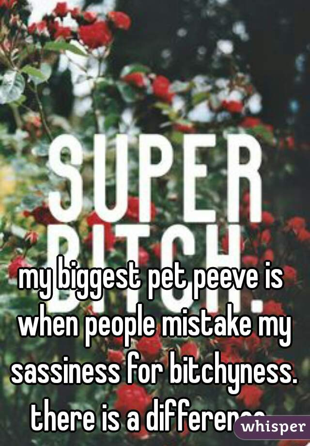 my biggest pet peeve is when people mistake my sassiness for bitchyness. there is a difference.