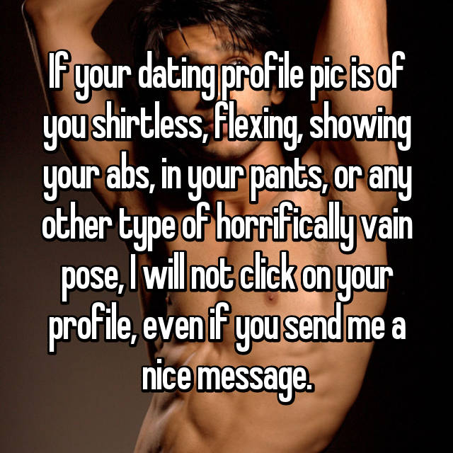 If your dating profile pic is of you shirtless, flexing, showing your abs, in your pants, or any other type of horrifically vain pose, I will not click on your profile, even if you send me a nice message.