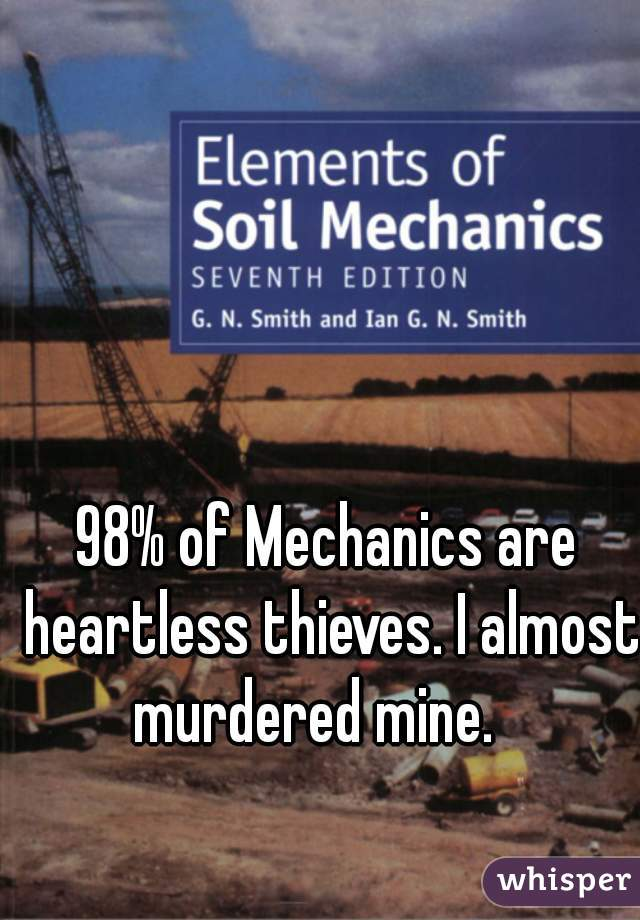 98% of Mechanics are heartless thieves. I almost murdered mine.