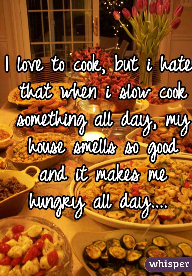 I love to cook, but i hate that when i slow cook something all day, my house smells so good and it makes me hungry all day....