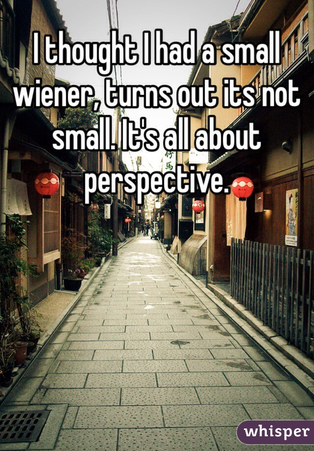 I thought I had a small wiener, turns out its not small. It's all about perspective.