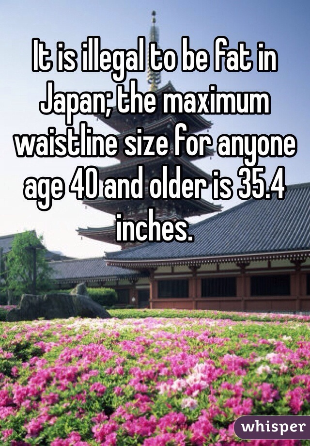 It is illegal to be fat in Japan; the maximum waistline size for anyone age 40 and older is 35.4 inches.