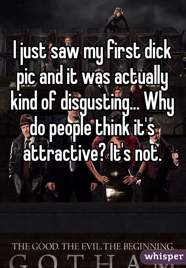 I just saw my first dick pic and it was actually kind of disgusting... Why do people think it's attractive? It's not.
