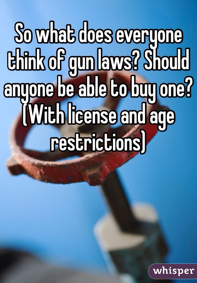 So what does everyone think of gun laws? Should anyone be able to buy one? (With license and age restrictions)