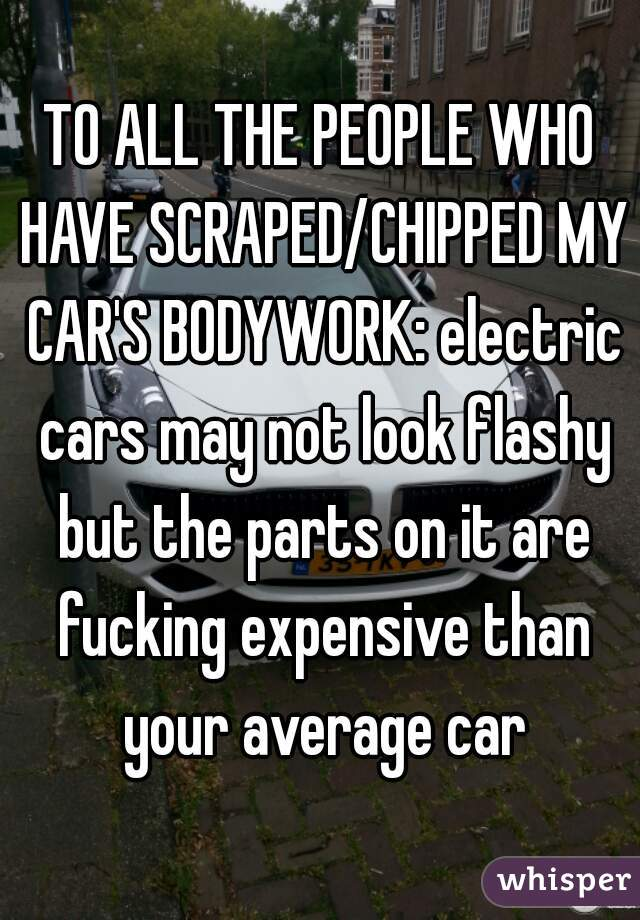 TO ALL THE PEOPLE WHO HAVE SCRAPED/CHIPPED MY CAR'S BODYWORK: electric cars may not look flashy but the parts on it are fucking expensive than your average car