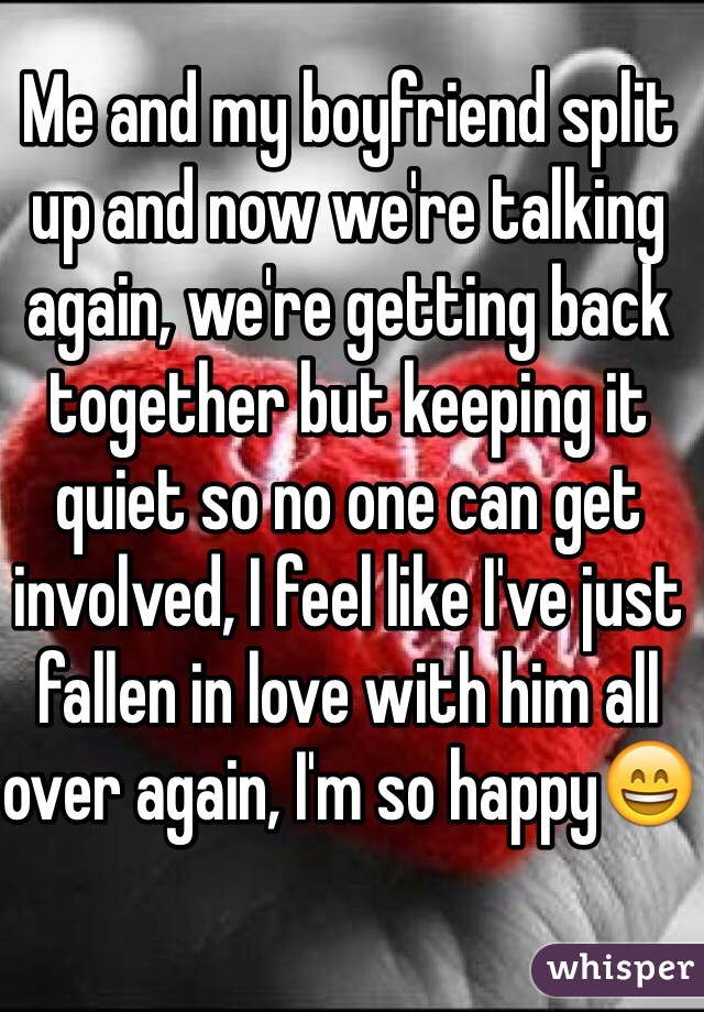 Me and my boyfriend split up and now we're talking again, we're getting back together but keeping it quiet so no one can get involved, I feel like I've just fallen in love with him all over again, I'm so happy😄