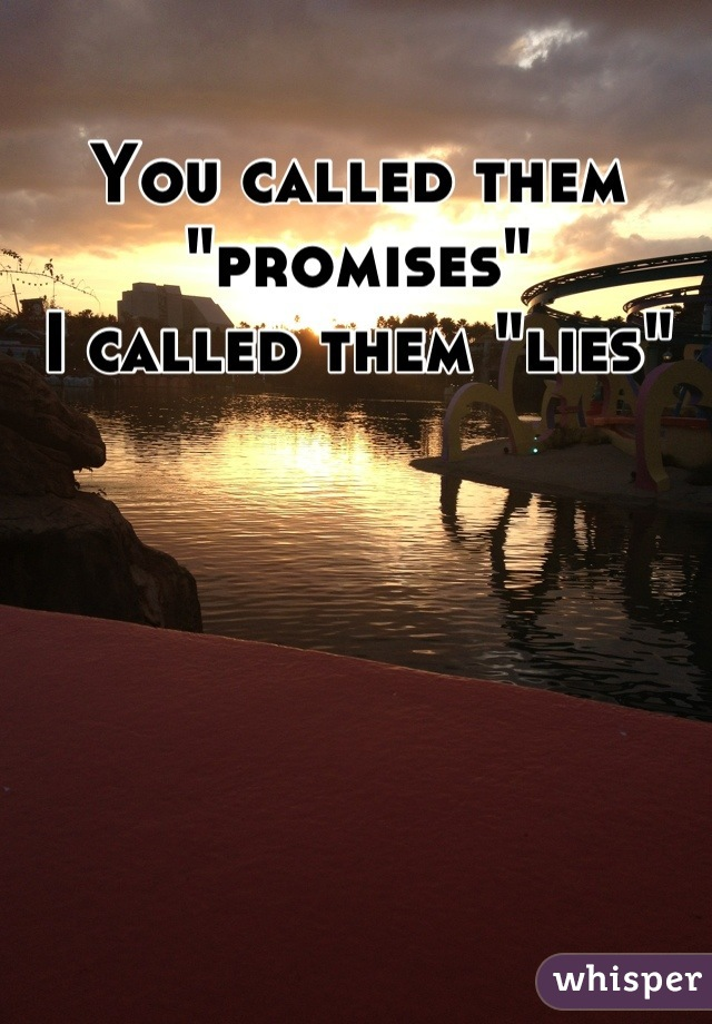"You called them ""promises"" I called them ""lies"""