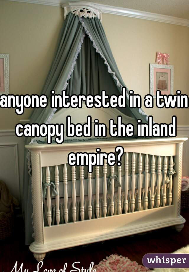 anyone interested in a twin canopy bed in the inland empire?