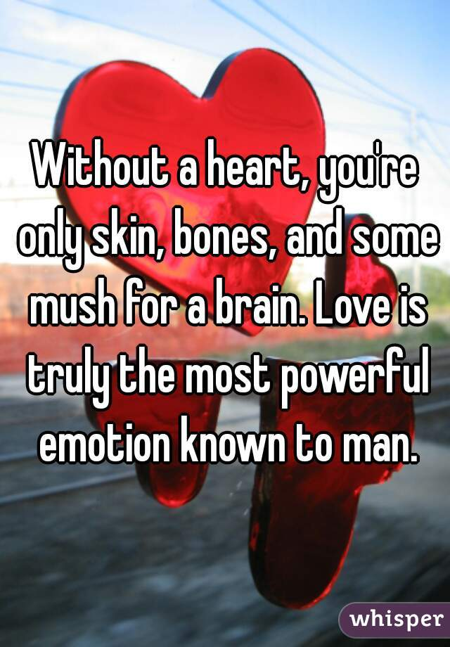 Without a heart, you're only skin, bones, and some mush for a brain. Love is truly the most powerful emotion known to man.