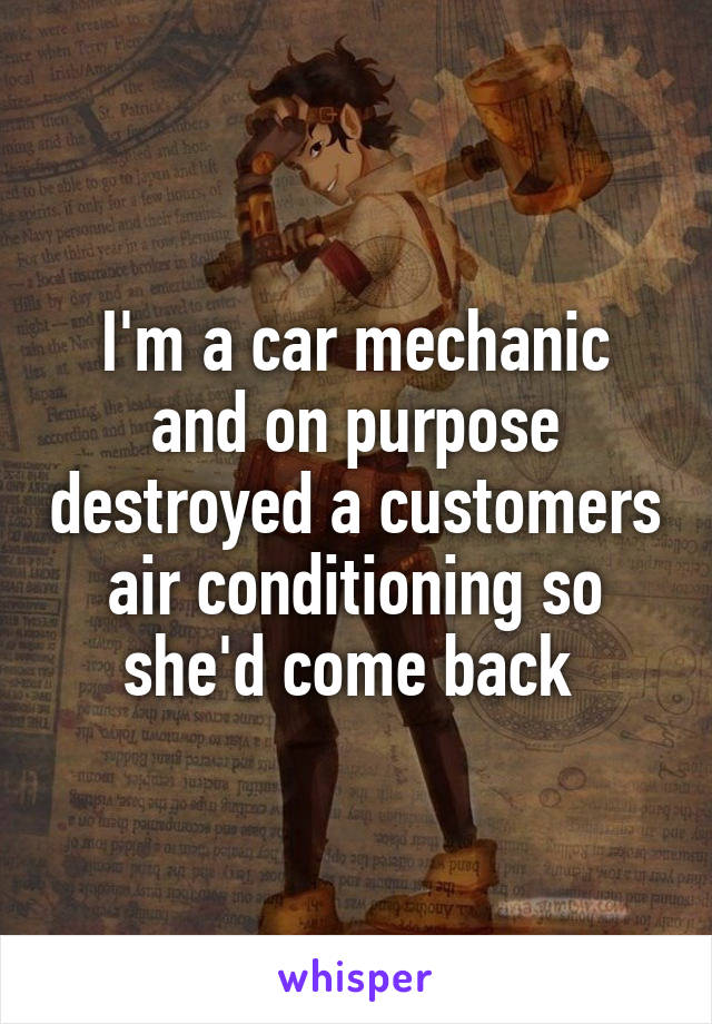 I'm a car mechanic and on purpose destroyed a customers air conditioning so she'd come back