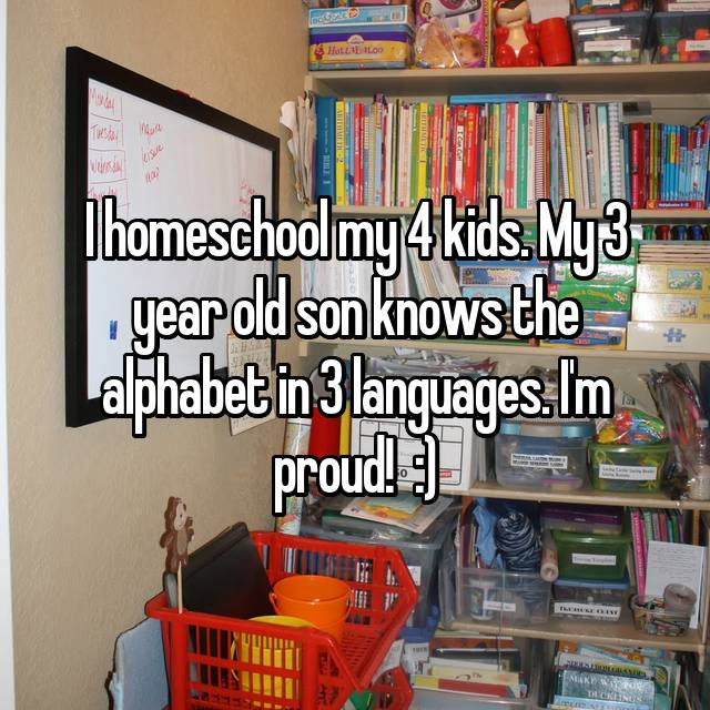 I homeschool my 4 kids. My 3 year old son knows the alphabet in 3 languages. I'm proud!  :)