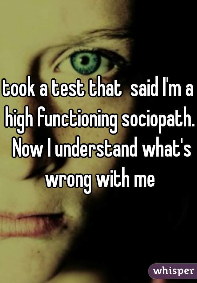 took a test that said I'm a high functioning sociopath  Now