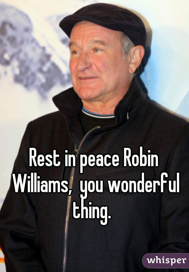 Rest in peace Robin Williams,  you wonderful thing.