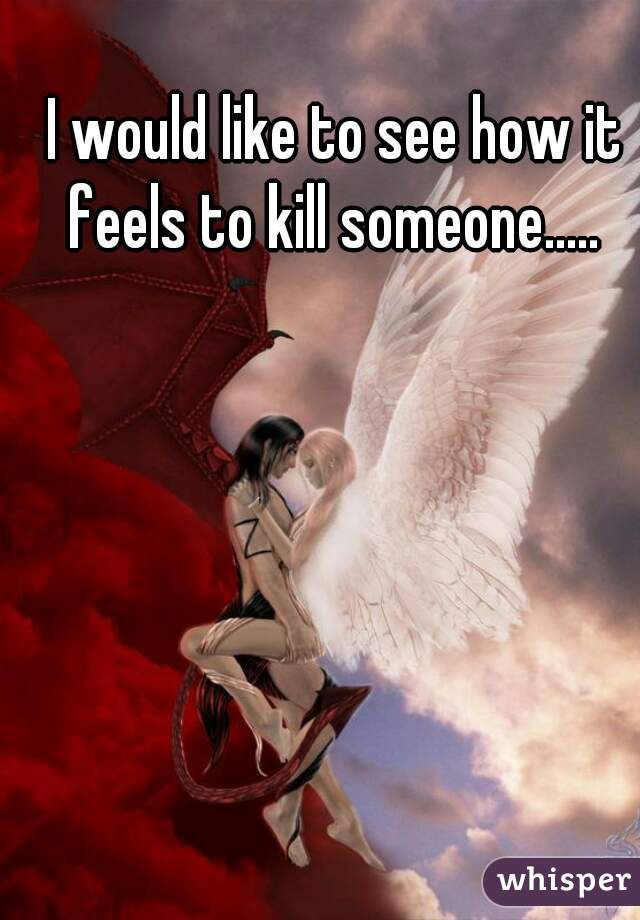 I would like to see how it feels to kill someone.....