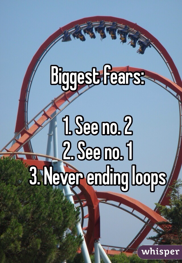 Biggest fears:  1. See no. 2 2. See no. 1 3. Never ending loops