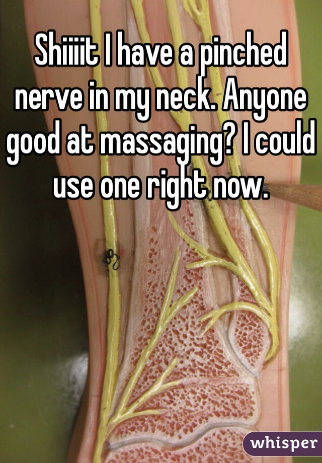 Shiiiit I have a pinched nerve in my neck. Anyone good at massaging? I could use one right now.