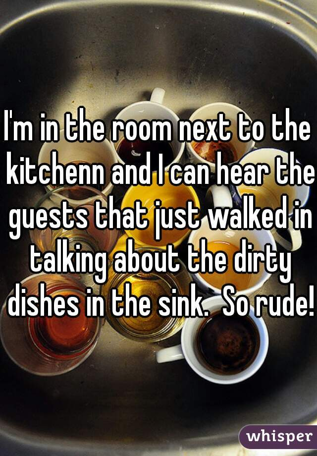 I'm in the room next to the kitchenn and I can hear the guests that just walked in talking about the dirty dishes in the sink.  So rude!