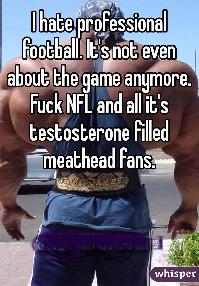 I hate professional football. It's not even about the game anymore. Fuck NFL and all it's testosterone filled meathead fans.