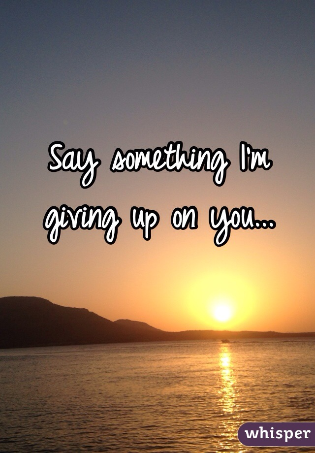 Say something I'm giving up on you...