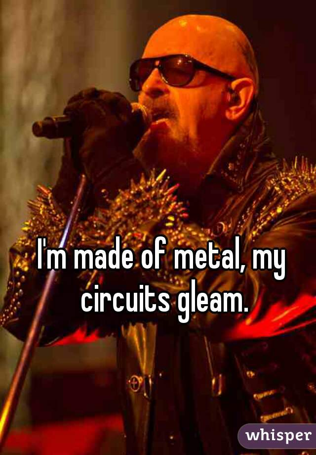 I'm made of metal, my circuits gleam.