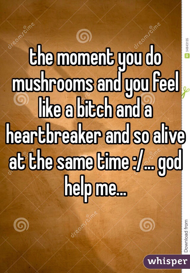 the moment you do mushrooms and you feel like a bitch and a heartbreaker and so alive at the same time :/... god help me...
