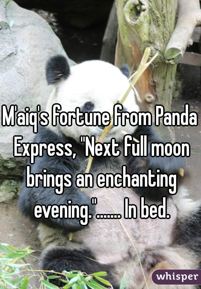 """M'aiq's fortune from Panda Express, """"Next full moon brings an enchanting evening.""""....... In bed."""