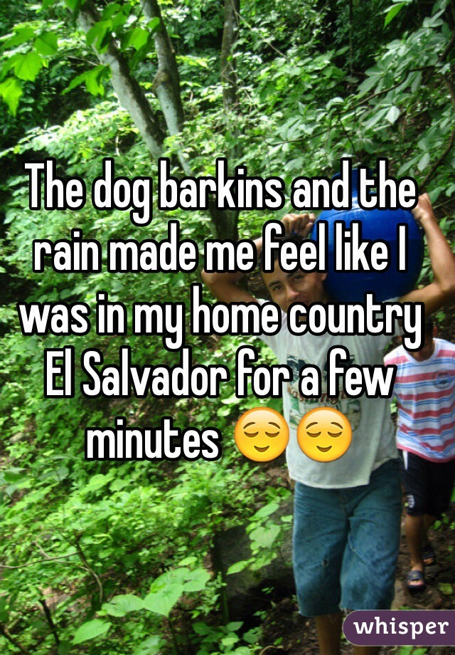 The dog barkins and the rain made me feel like I was in my home country El Salvador for a few minutes 😌😌