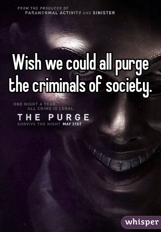 Wish we could all purge the criminals of society.