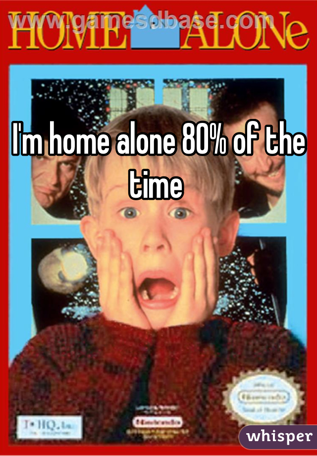I'm home alone 80% of the time