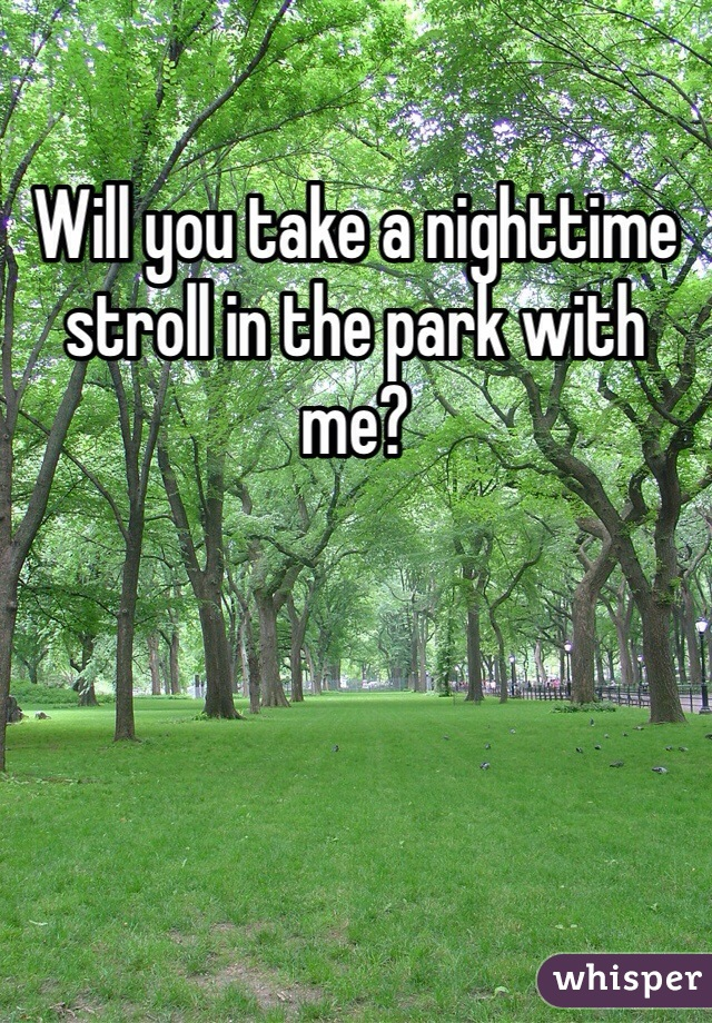 Will you take a nighttime stroll in the park with me?