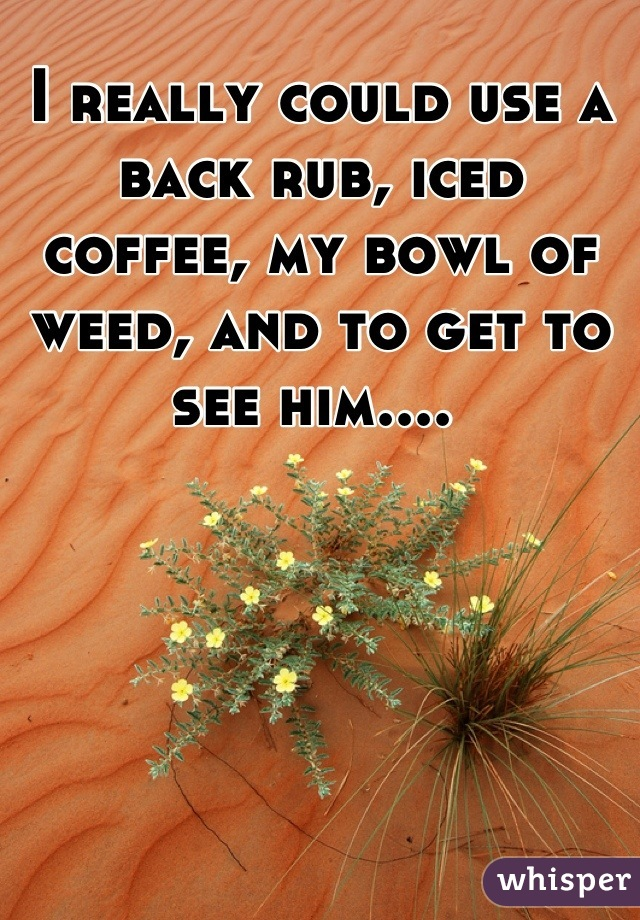I really could use a back rub, iced coffee, my bowl of weed, and to get to see him....