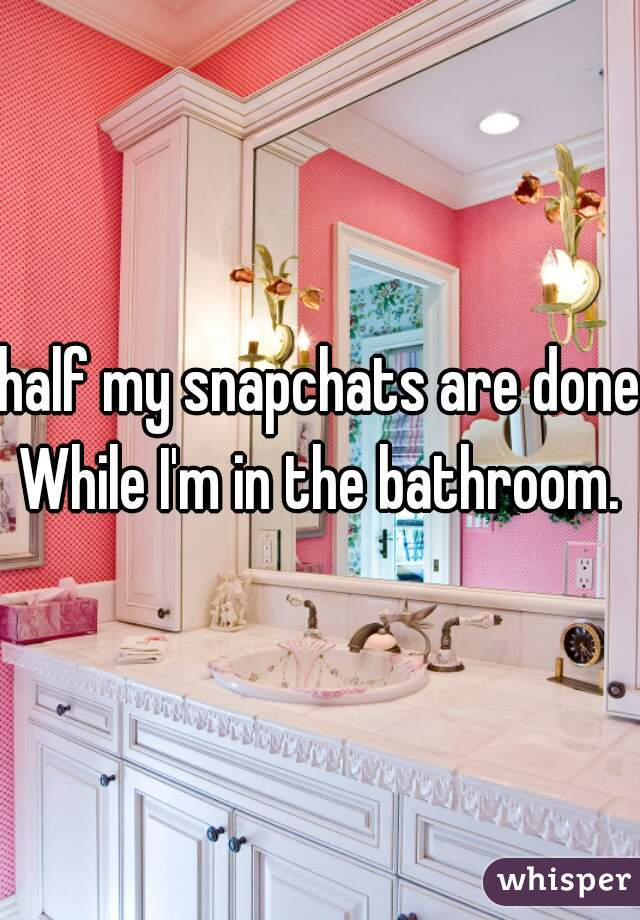 half my snapchats are done While I'm in the bathroom.
