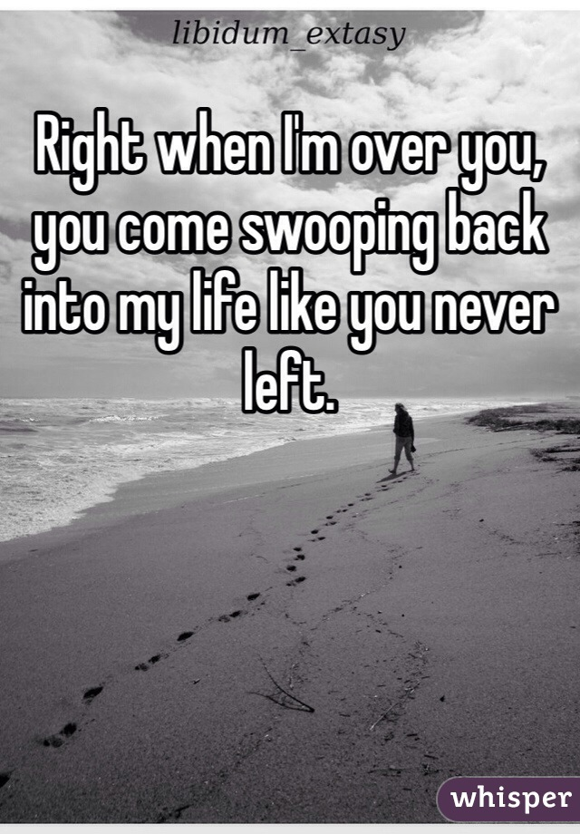 Right when I'm over you, you come swooping back into my life like you never left.