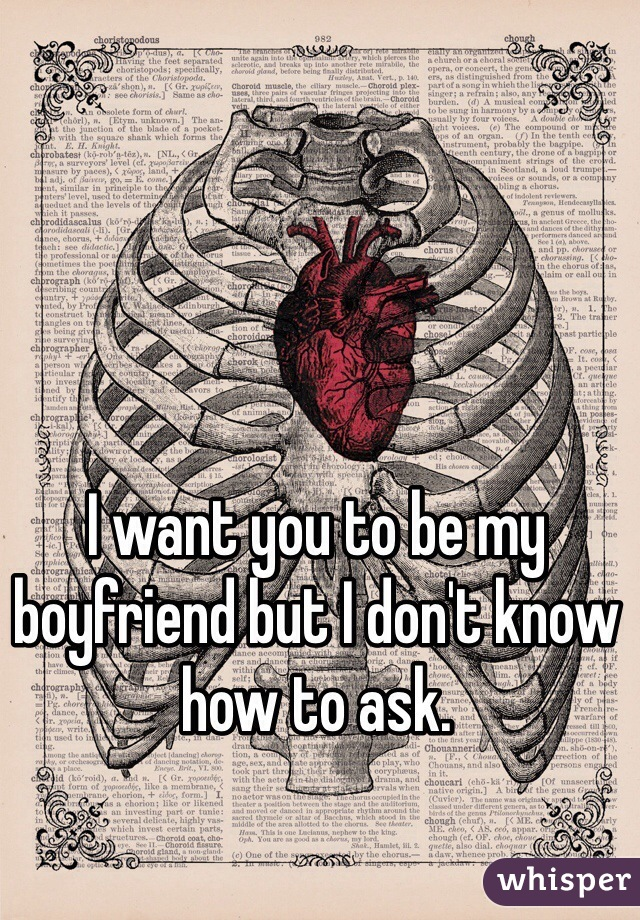 I want you to be my boyfriend but I don't know how to ask.
