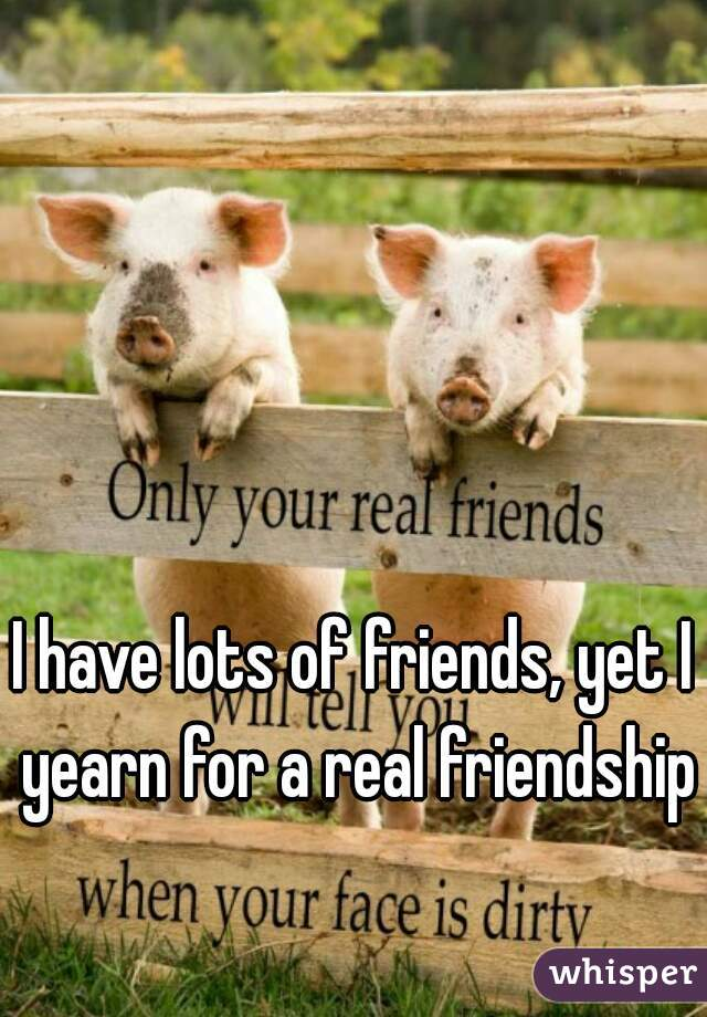 I have lots of friends, yet I yearn for a real friendship.