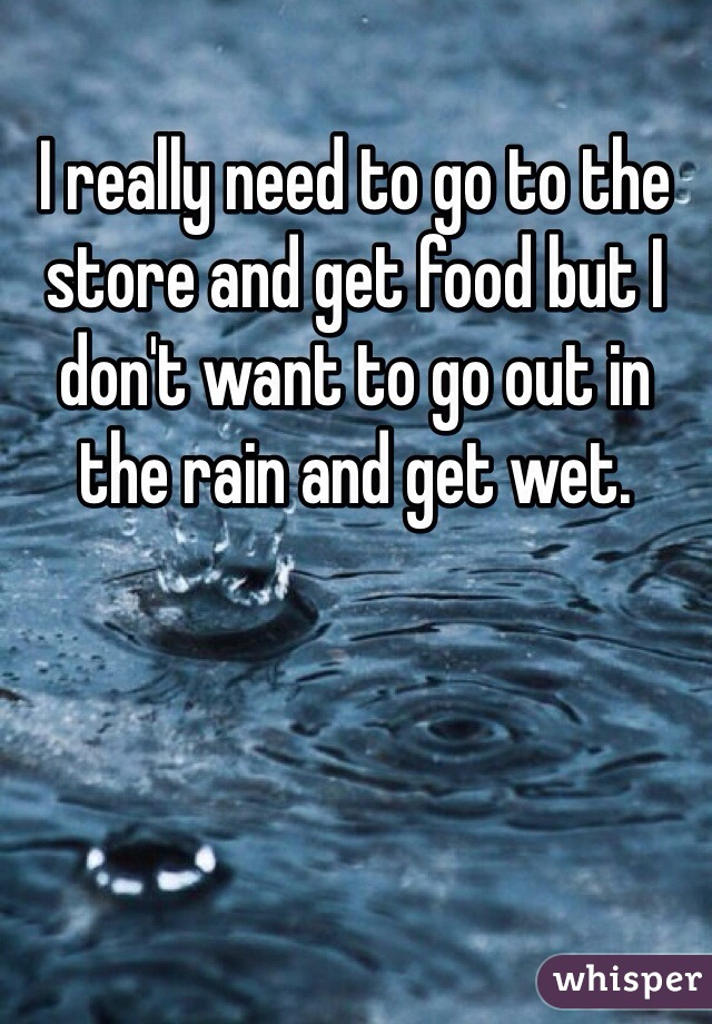 I really need to go to the store and get food but I don't want to go out in the rain and get wet.