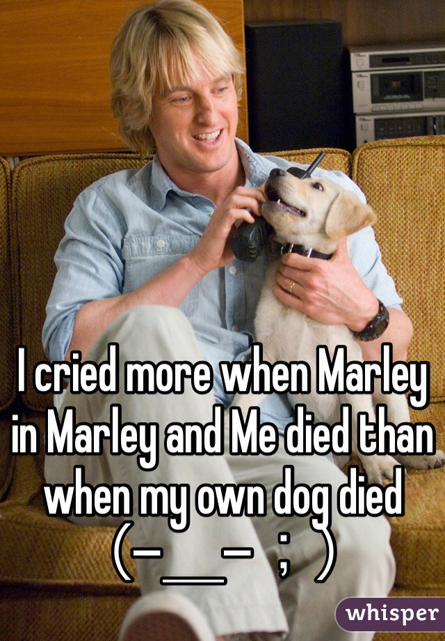 I cried more when Marley in Marley and Me died than when my own dog died (−_−;)