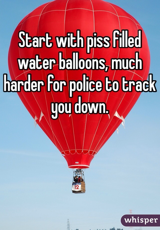 Start with piss filled water balloons, much harder for police to track you down.