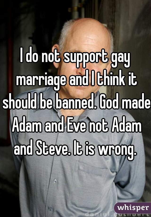 I do not support gay marriage and I think it should be banned. God made Adam and Eve not Adam and Steve. It is wrong.