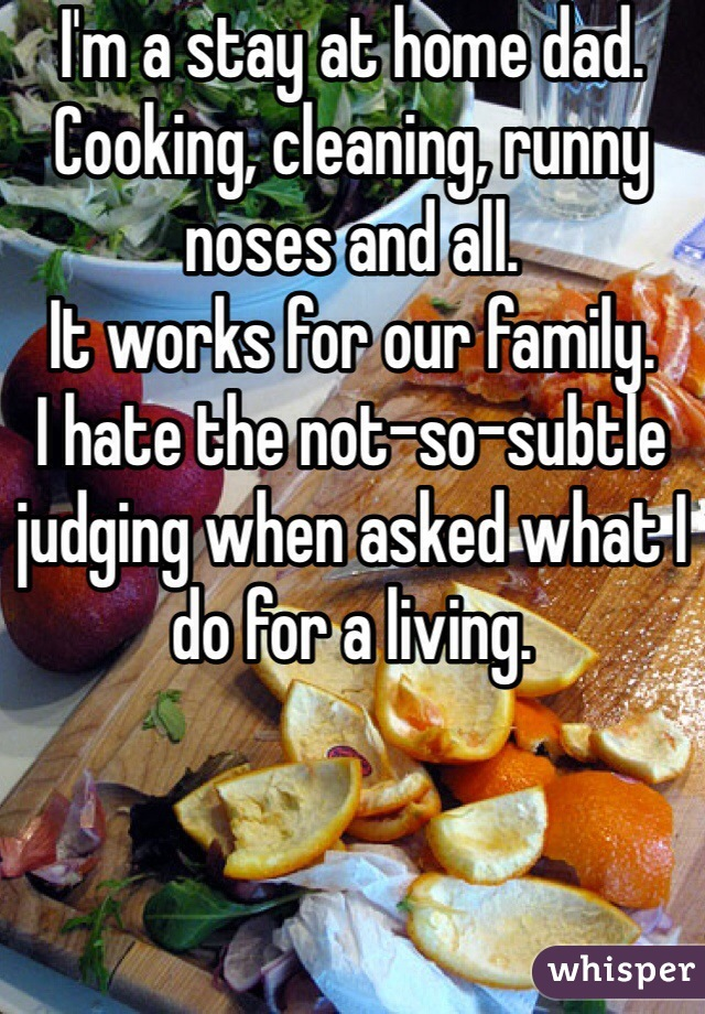 I'm a stay at home dad.  Cooking, cleaning, runny noses and all.  It works for our family.  I hate the not-so-subtle judging when asked what I do for a living.