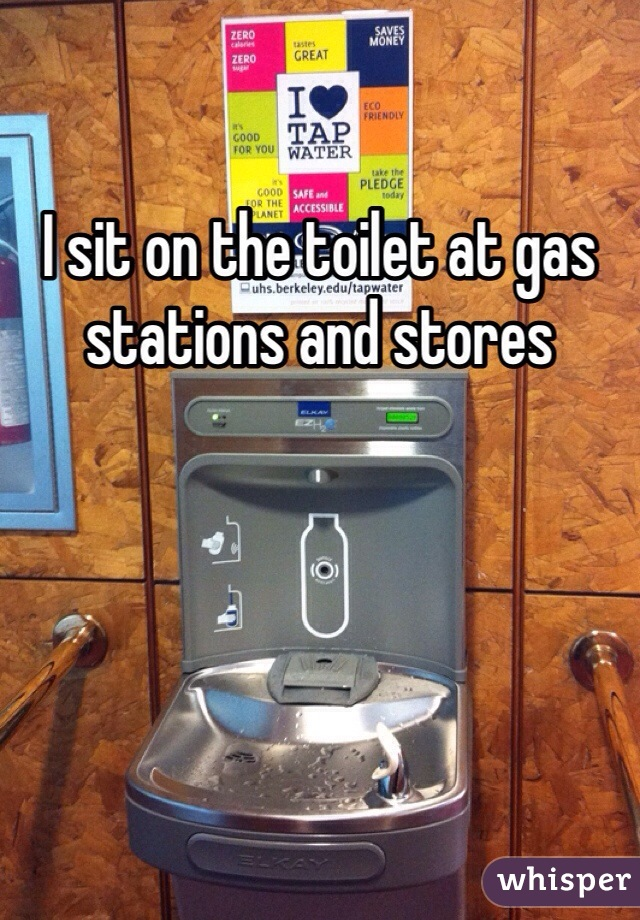 I sit on the toilet at gas stations and stores