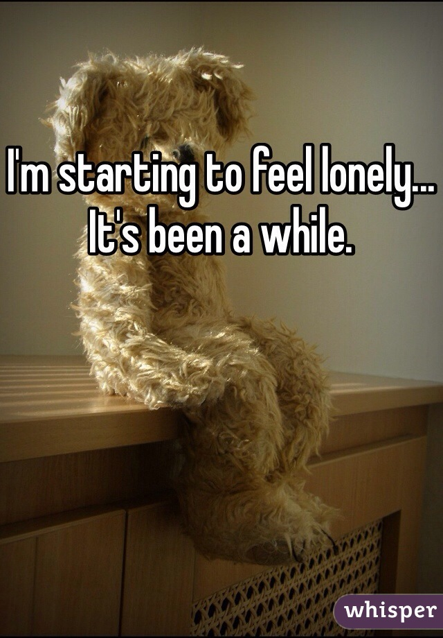 I'm starting to feel lonely... It's been a while.