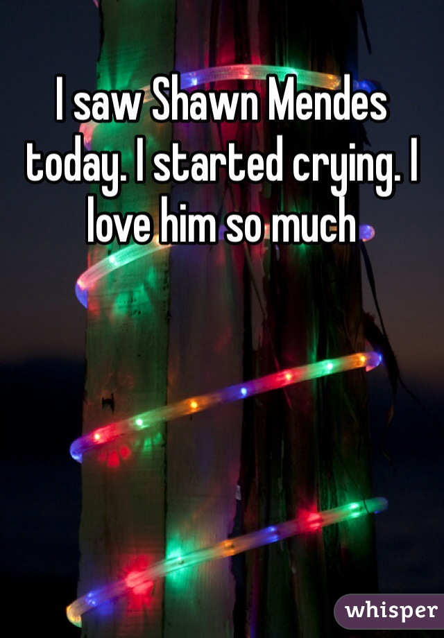 I saw Shawn Mendes today. I started crying. I love him so much
