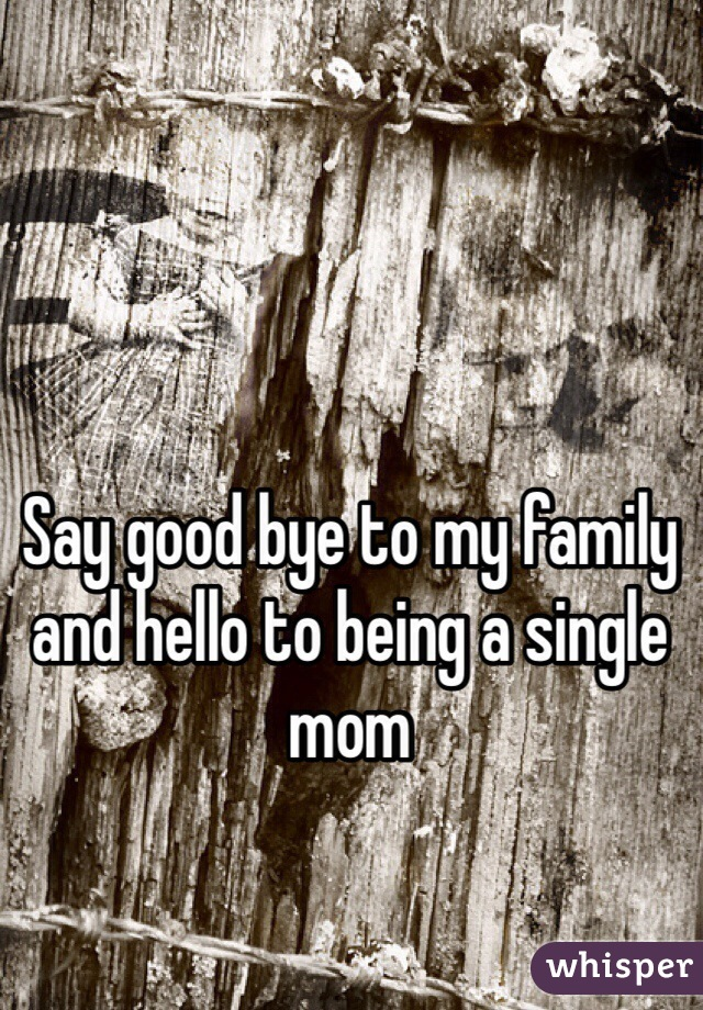 Say good bye to my family and hello to being a single mom