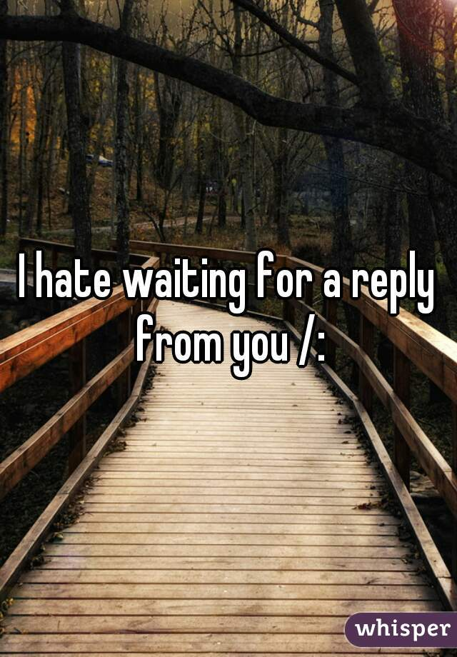 I hate waiting for a reply from you /: