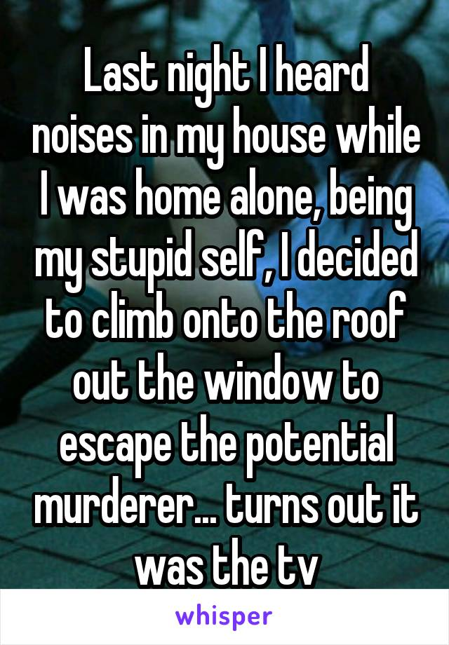 Last night I heard noises in my house while I was home alone, being my stupid self, I decided to climb onto the roof out the window to escape the potential murderer... turns out it was the tv
