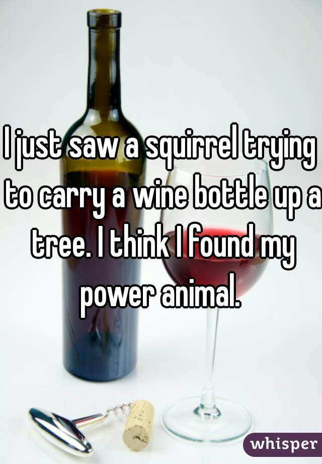 I just saw a squirrel trying to carry a wine bottle up a tree. I think I found my power animal.