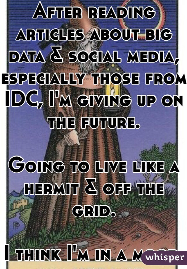 After reading articles about big data & social media, especially those from IDC, I'm giving up on the future.  Going to live like a hermit & off the grid.   I think I'm in a mood.