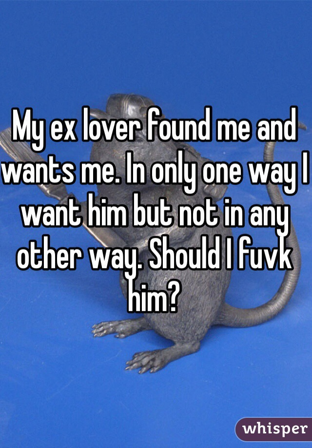 My ex lover found me and wants me. In only one way I want him but not in any other way. Should I fuvk him?