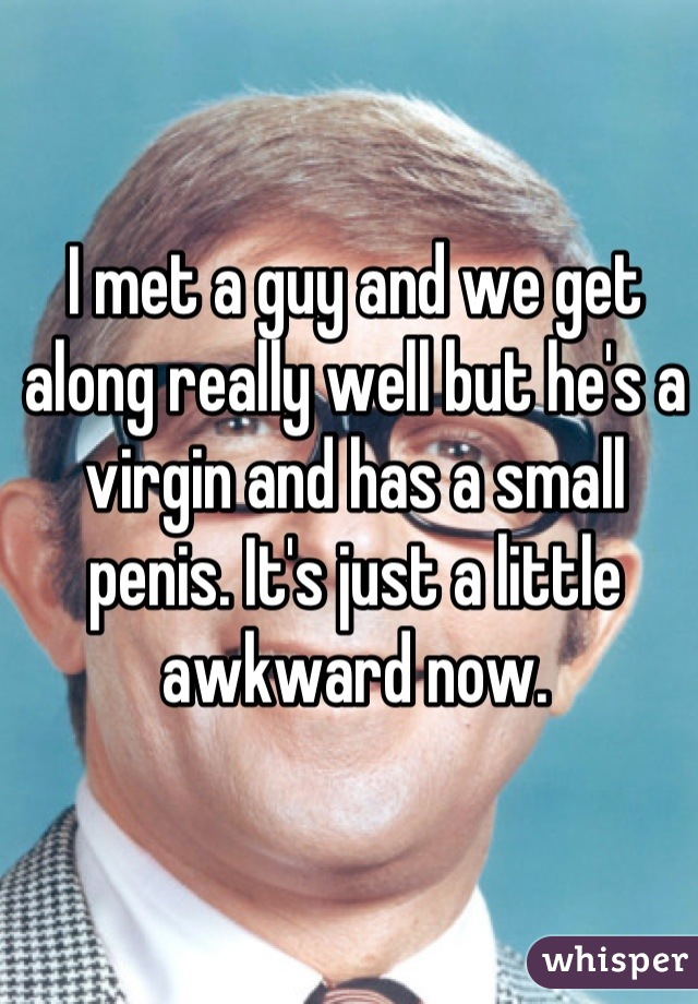 I met a guy and we get along really well but he's a virgin and has a small penis. It's just a little awkward now.